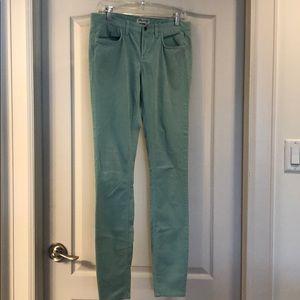 Madewell mint green corduroy skinny jeans